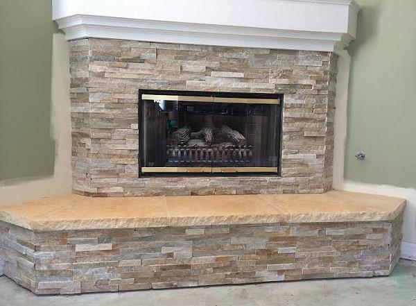 Stone veneer fireplace 2