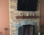 Natural stone veneer fireplace33